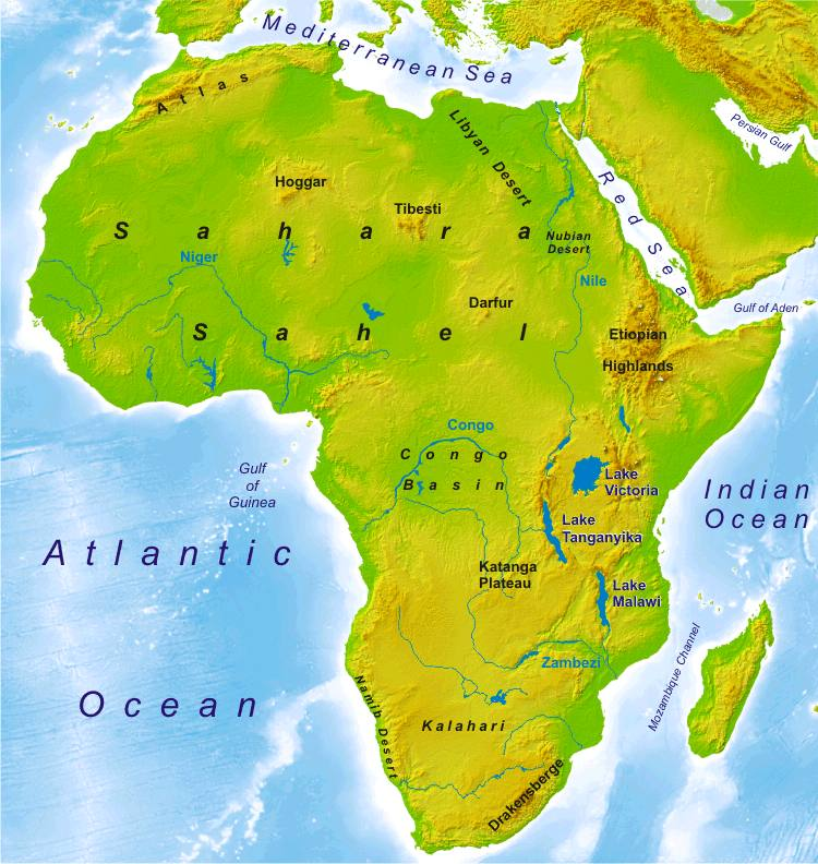 Physical Maps Of Africa